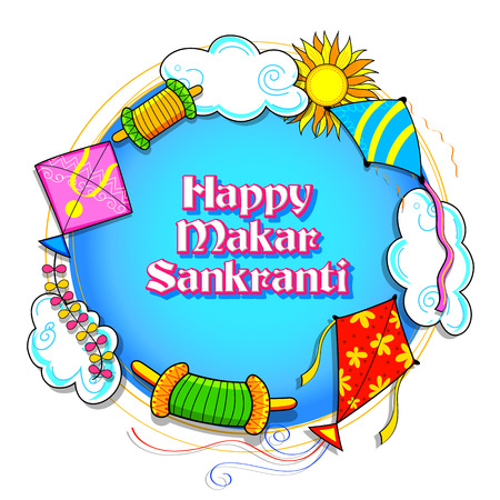 illustration of Happy Makar Sankranti wallpaper with colorful kite string for festival of India