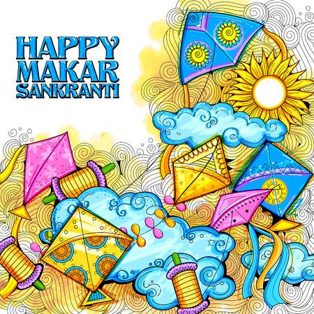 paper kite: illustration of Happy Makar Sankranti wallpaper with colorful kite string for festival of India