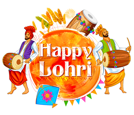 illustration of Happy Lohri background for Punjabi festival