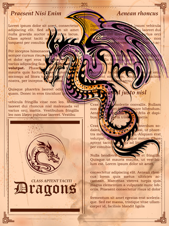 illustration of furious Dragon drawing on old vintage book page