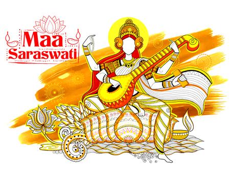 devi: Goddess of Wisdom Saraswati for Vasant Panchami India festival background