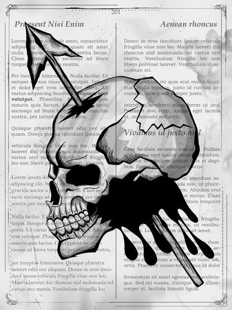 retro style: Vintge style grungy skull print retro background Illustration