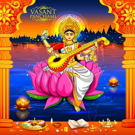 saraswati: Goddess of Wisdom Saraswati for Vasant Panchami India festival background