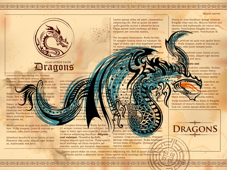 old page: illustration of furious Dragon drawing on old vintage book page