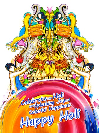 holiday tradition: Happy Holi layout for festival of colors celebration greetings.