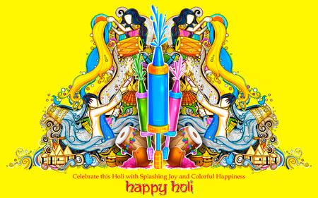 pichkari: Happy Holi Background for Festival of Colors celebration greetings