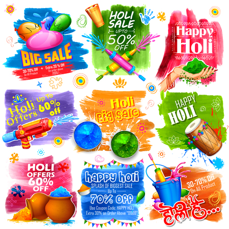 india culture: illustration of colorful promotional background for Festival of Colors celebration with message in Hindi Holi Hain meaning Its Holi Illustration
