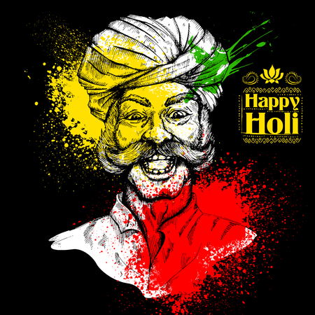 man: illustration of Colorful Indian man face for Happy Holi Background