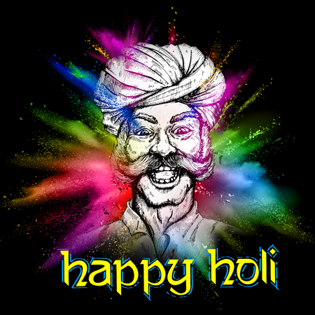 illustration of Colorful Indian man face for Happy Holi Background