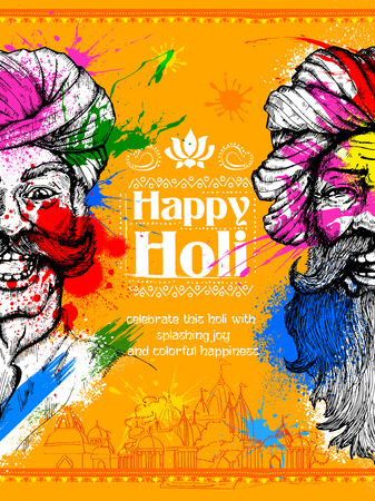 Colorful Indian man face for Happy Holi Background Illustration