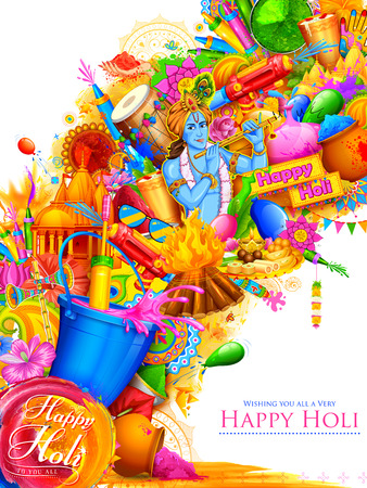 Illustration of Lord Krishna playing flute in Happy Holi background.