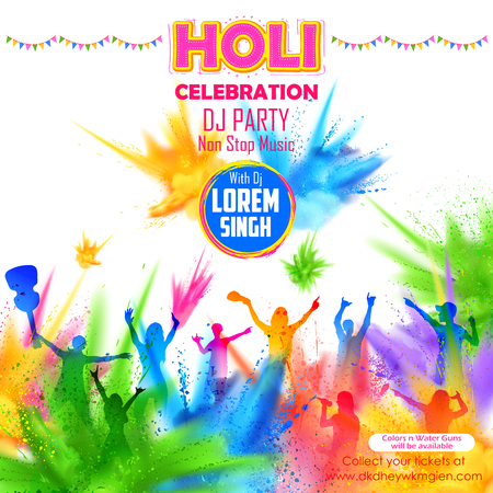 illustration of People playing with color in DJ party banner for Holi celebration