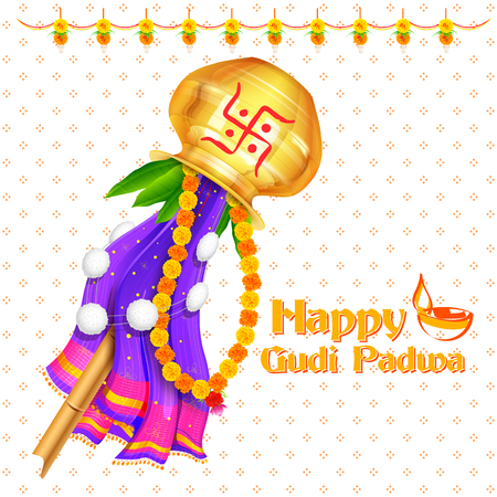 Gudi Padwa celebration of India Ilustracja