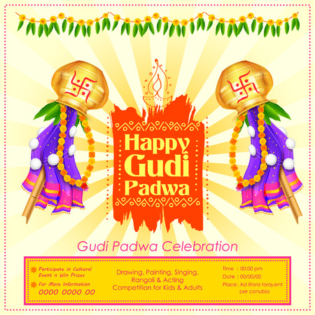 Gudi Padwa celebration of India Stock Vector - 73906542