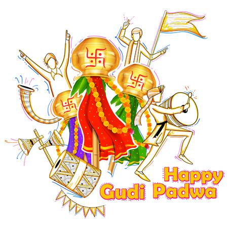 Beautiful Gudi Padwa celebration of India Stock Vector - 73906535