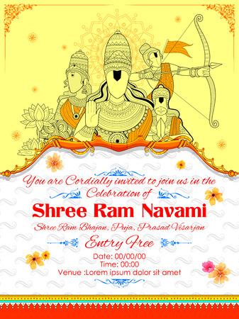 hanuman: Lord Ram, Sita, Laxmana, Hanuman and Ravana in Ram Navami in yellow and orange. Illustration