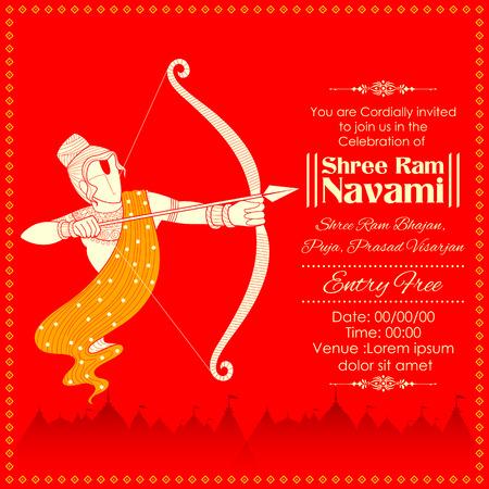Lord Rama with bow arrow killing Ravana in Ram Navami Illustration