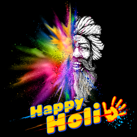 gulal: Colorful Indian man face for Happy Holi Background Illustration
