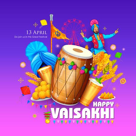 illustration of Happy Vaisakhi Punjabi festival celebration background