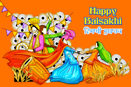 india culture: Happy Vaisakhi Punjabi festival celebration background Illustration