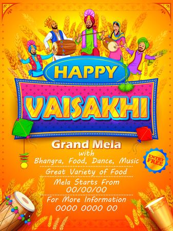 Happy Vaisakhi Punjabi festival celebration background Illustration