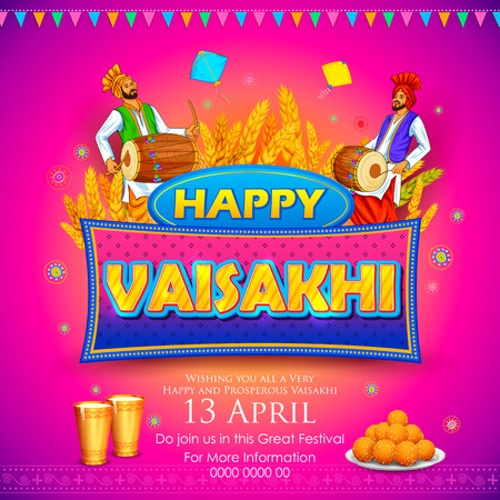 india culture: illustration of Happy Vaisakhi Punjabi festival celebration background
