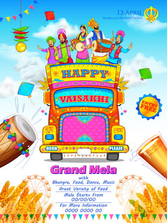 Happy Vaisakhi Punjabi festival celebration background Ilustrace