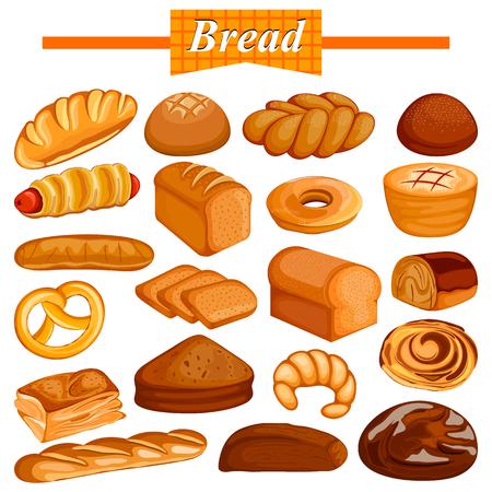 おいしい各種パンとベーカリー食品アイテムのセット  イラスト・ベクター素材