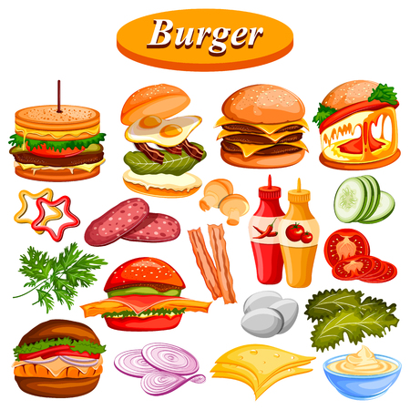 grilled vegetables: Different burger ingredient and sauce including ham, cheese Illustration