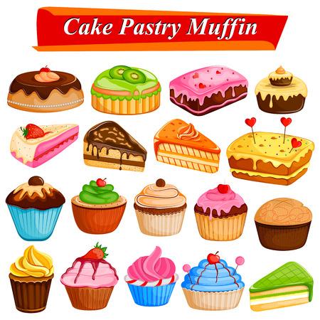 Set of yummy assorted Cakes and Pastry Food dessert Ilustração
