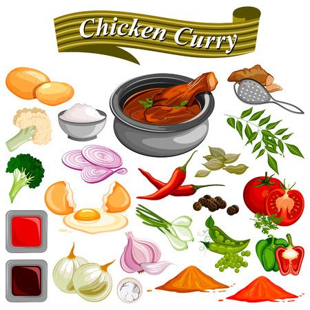 Ingrédient pour recette de poulet au curry indien avec légumes et épices