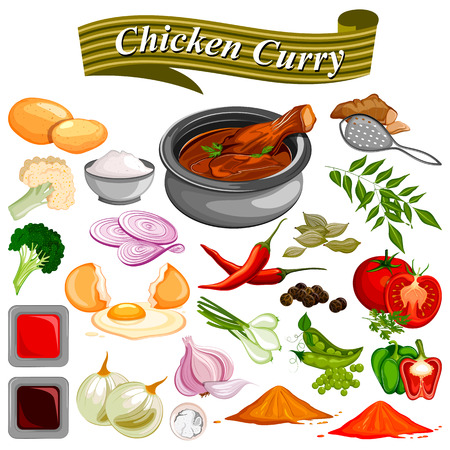 Ingredient for Indian Chicken Curry recipe with vegetable and spices