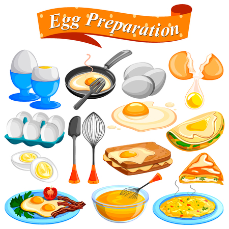 boiled: Different delicious Egg preparation Food dishes