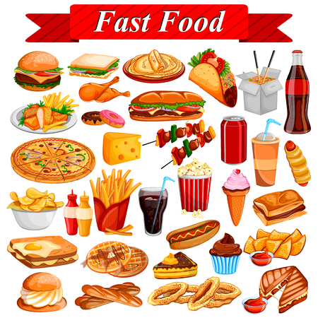 delicious food: Delicious tasty Fast Food and drink item Illustration