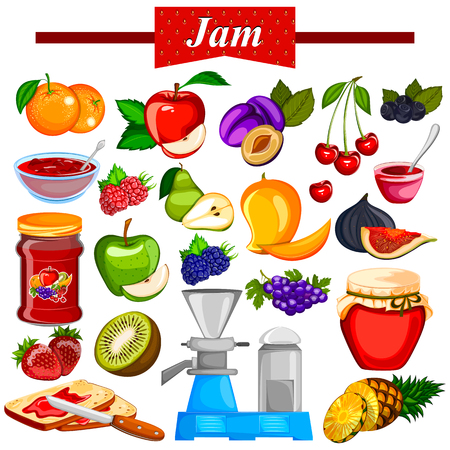 Different variety of Fruit Jam and Jelly ingredient
