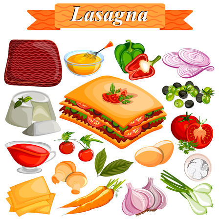 food: Food and Spice ingredient for Lasagana Illustration