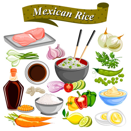food ingredient: Food and Spice ingredient for Mexican Rice Bowl Illustration