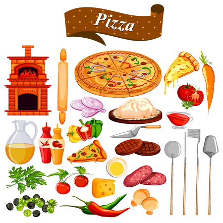 food preparation: Food and Spice ingredient for Pizza Illustration