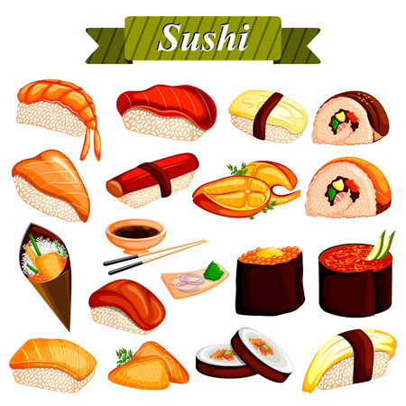 traditional culture: Full collection of different variety of Sushi roll from Japanese cuisine Illustration