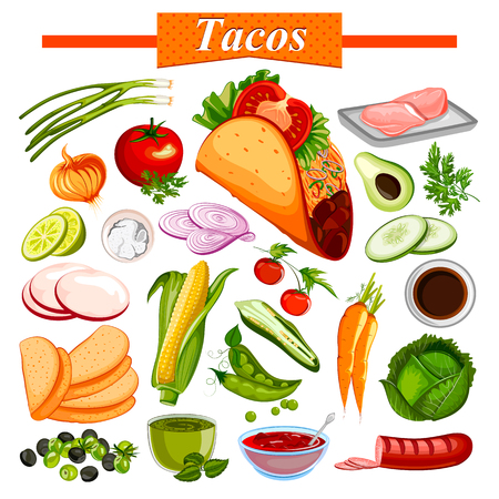 junkfood: Food and Spice ingredient for Mexican snack Tacos Illustration