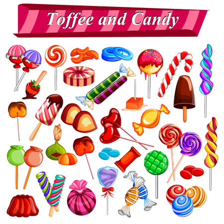 chocolate candy: Full collection of different colorful candy and toffee chocolate Illustration