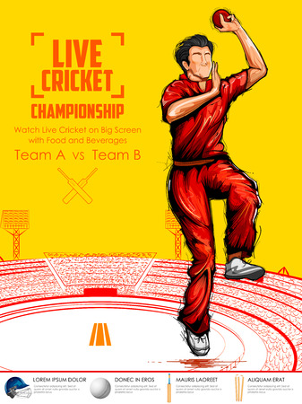Illustration of Bowler bowling in cricket championship sports. Illustration