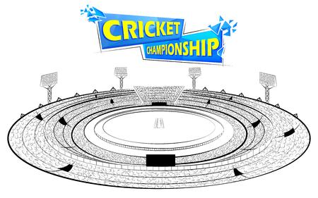 Illustration de Stadium of Cricket avec pitch pour match de championnat. Vecteurs