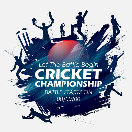 Illustration of batsman and bowler playing cricket championship sports.