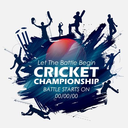 Illustration of batsman and bowler playing cricket championship sports.