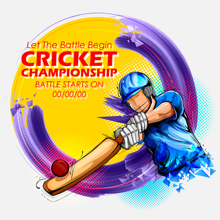 Batsman playing cricket championship sports. 版權商用圖片 - 76150335