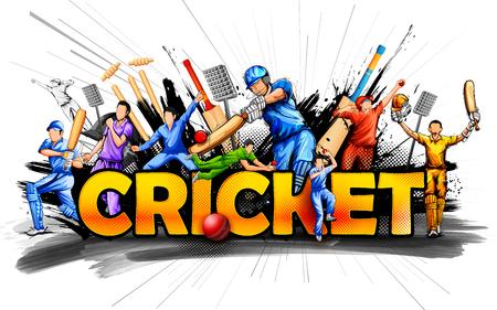 cricketer: Batsman and bowler playing cricket championship sports.