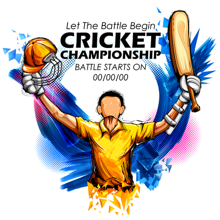 Illustration of batsman playing cricket championship sports.