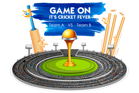 tournament: Stadium of Cricket with Bat, wicket and Trophy. Illustration