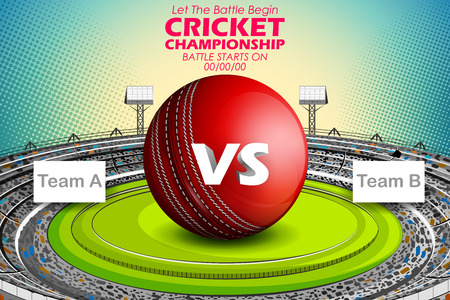 Stadium of Cricket with ball on pitch and VS versus text.